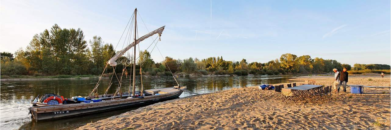 camping on the banks of the Loire river